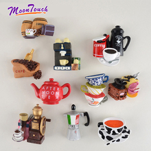 Creative 3D Coffee Accessories Fridge Magnet Cartoon Moka Pot Cup Shaped Magnetic Note Adsorption Decoration