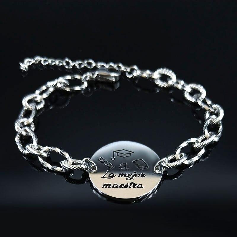 Женский браслет-цепочка из нержавеющей стали серебристого цвета