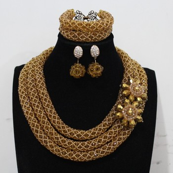4UJewelry African Style Crystal Beads Necklace Set Dark Champagne Bridal Costume Jewelry 3 Rows Nigerian Wedding Beads Gift Set