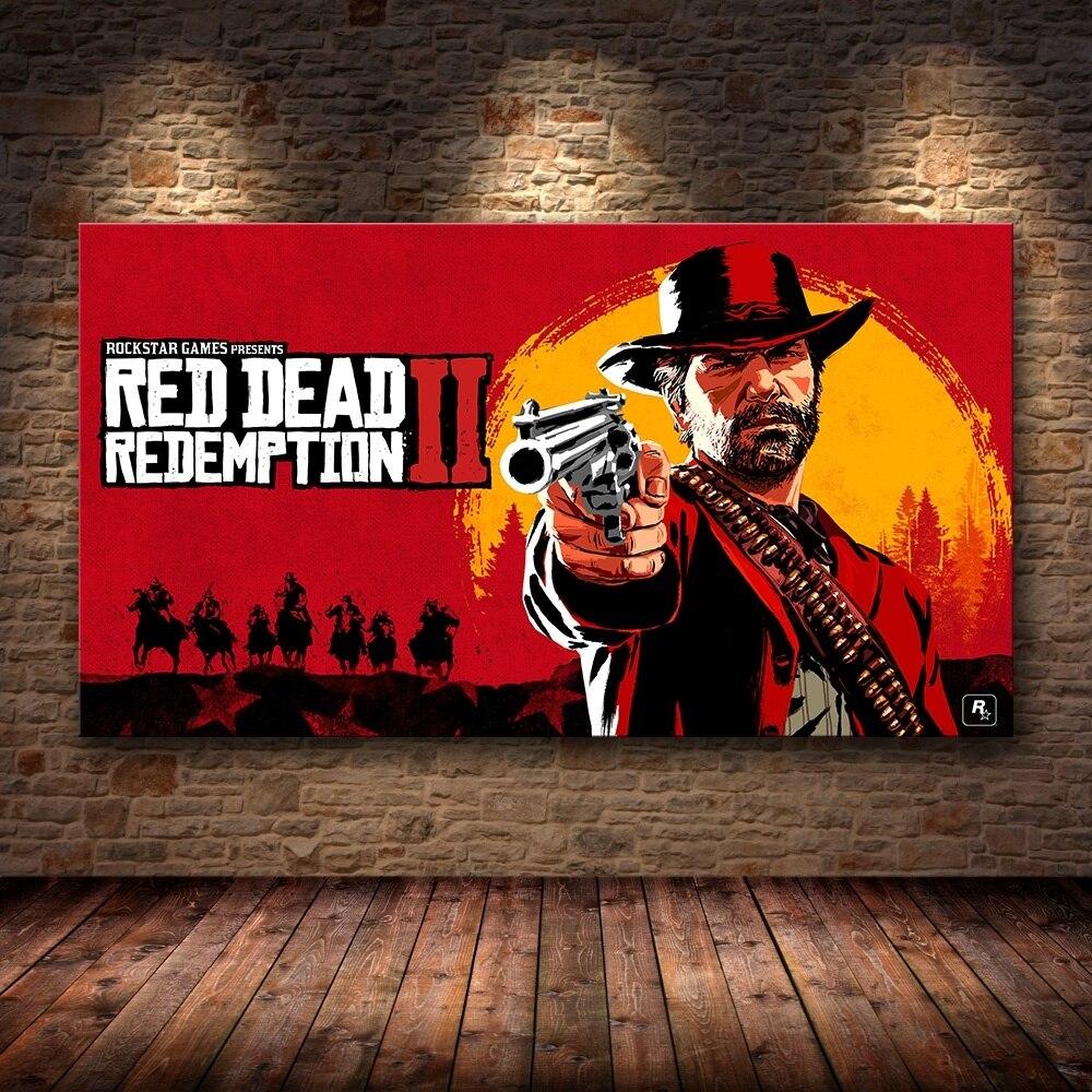 1 stück Leinwand Poster Video Spiele Rot Toten Erlösung 2 Arthur Morgan Gutch der Gang Western Spiel Wand Malerei Hause decor