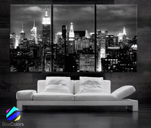 3 Pieces Canvas Oil Painting Wall Art Pictures For Living Room Home Decorative Picture Poster City Night View Framed PJMT-48(China)