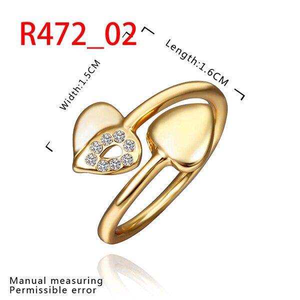 טבעות סיטונאי מהודר רוז זהב צבע זהב עם זירקון, תכשיטי סביבה אופנה לב טבעת נישואים לנשים R472