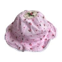 4-18M  Infant Strawberry Pattern Hat 2017 Baby Girls Boys Cotton Hats Outdoor Sun Cap