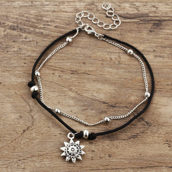 IF ME Vintage Multiple Layers Charms Anklets For Women Silver Color Sun Shape Beads Summer Female Foot Chain Jewelry Party Gifts 4