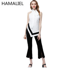 HAMALIEL 2017 Summer 2 Piece Women Set Fashion Off Shoulder Sleeveless Bow Hit Color Top+Ankle-Length Wide Leg Flared Pant Suit