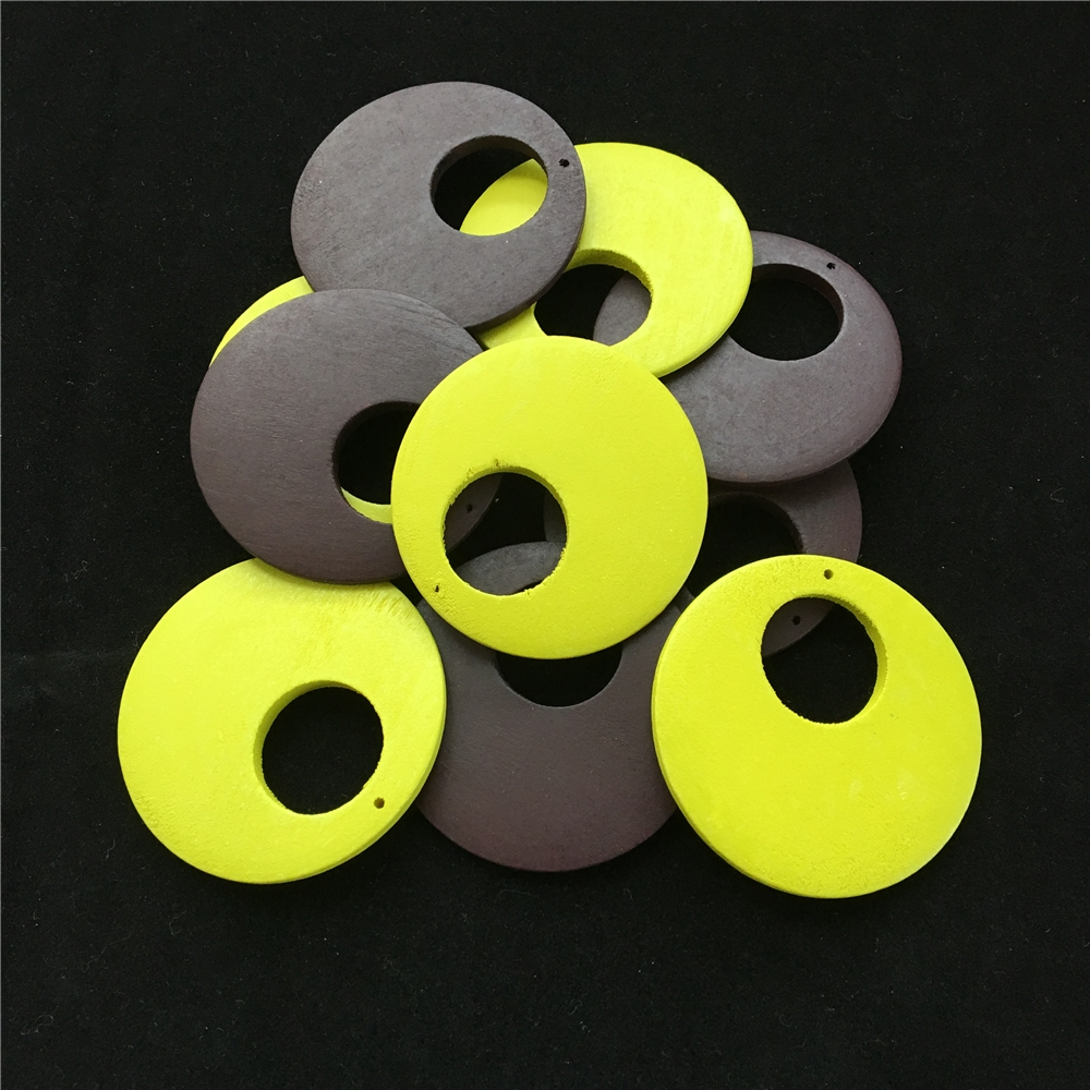 Jewelry-Making-Accessories Pendants Earrings Necklace Natural 5pcs Wood 60mm DIY Colored