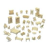 Chanycore Bé Learning Giáo Dục Chơi Bằng Gỗ 3D Puzzle Nội Thất Nhà Búp Bê Sofa Bed Bảng Ghế Nhà Bếp 34 cái Kid Gift 4321