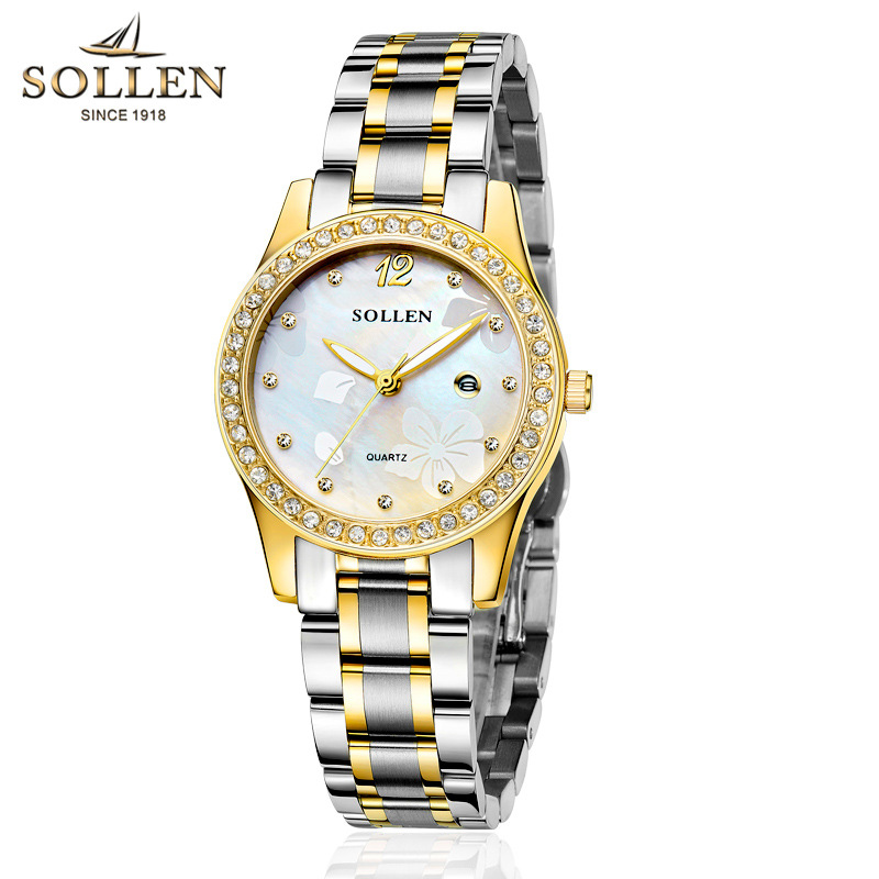 reloj mujer Lady Quartz Wristwatch Brand luxury gold Rhinestone Dial Waterproof Watch full Stainless Steel Women Dress watches binger trendy women man steel rhinestone watch luxury brand design cz diamond watches white big dial 200m waterproof wristwatch