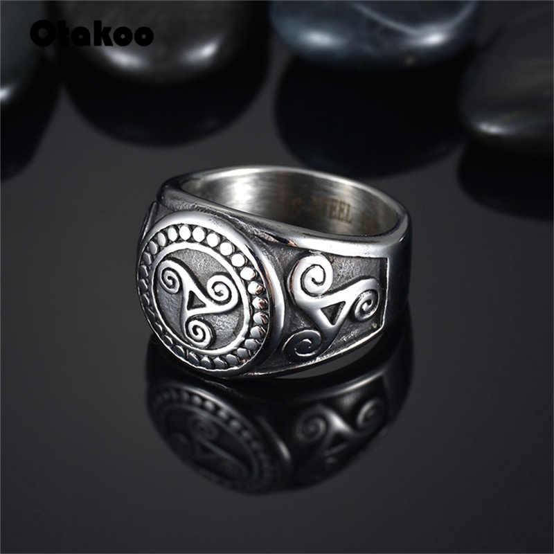 Otakoo فاسق الرجعية التين وولف ميدي حلقة Triskele Triskelion أليسون الفضي خاتم من الإستانليس ستيل الخاتم الدائري للرجال هدية