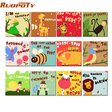 RUOPOTY Frame Cartoon Animals DIY Painting By Numbers Children Acrylic Paint By Number Hand Painted Calligraphy Painting 20x20cm(China)