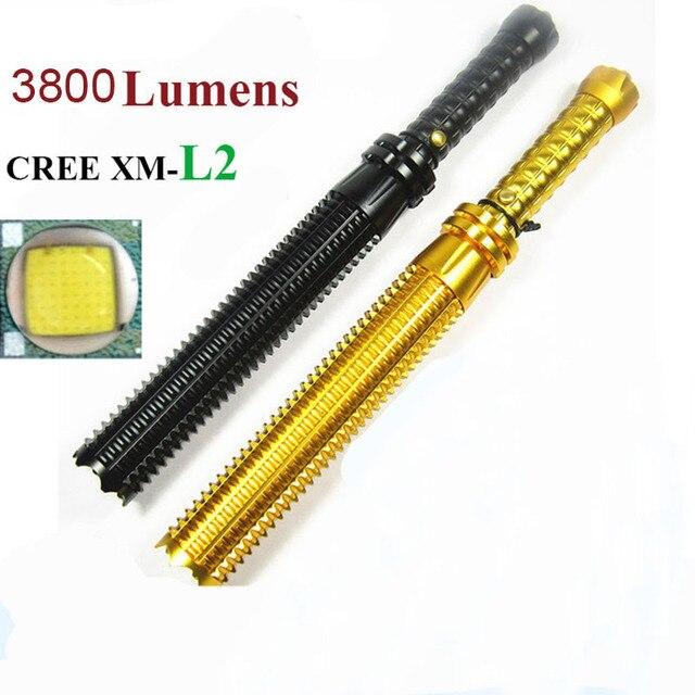 Бейсбольная бита led полиции фонарик cree XM-L2 3800 Люмен 5 режим масштабируемые Алюминия аккумуляторная linternas фонари тактические