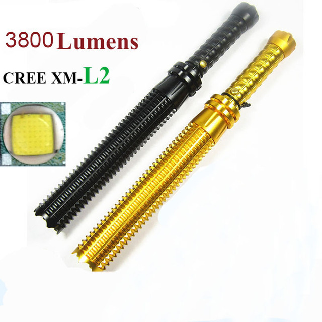 Baseball bat led police flashlight  cree XM-L2 3800 Lumens 5 mode zoomable Aluminum rechargeable linternas flashlights tactical