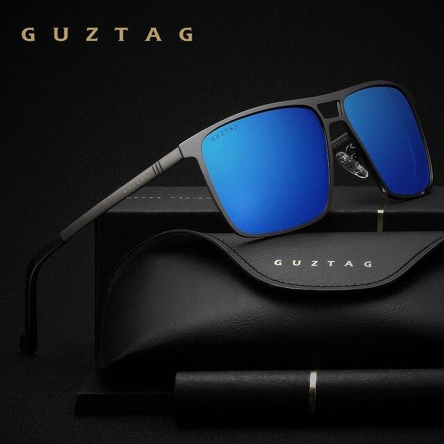 Guztagサングラスステンレス鋼の正方形男性/女性偏光ミラーUV400サングラス男性oculos G8029