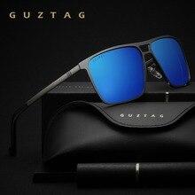 Guztag óculos de sol de aço inoxidável quadrado homem/mulher espelho polarizado uv400 óculos de sol óculos de sol para masculino oculos g8029