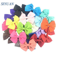 10pcs/lot 3.6 inch Grosgrain Ribbon Hair Bow with Alloy Clip Kids Daily Headwear Photo Props HDJ20(China)