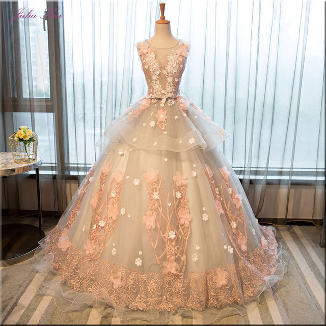 5beddbe188c Julia Kui Floral Prints Ball Gown Quinceanera Dresses Sleeveless Embroidery  Appliques Scoop Floor-Length Formal Dresses Lace Up