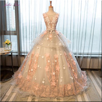 Julia Kui Floral Prints Ball Gown Quinceanera Dresses Sleeveless Embroidery Appliques Scoop Floor Length Formal Dresses Lace Up