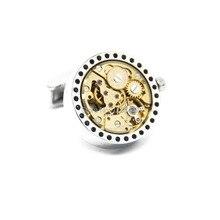Free Shipping 2015 New Functional Watch Movement Cufflinks Steampunk Gear cufflinks Best Gift cuff links Wholesale&retail