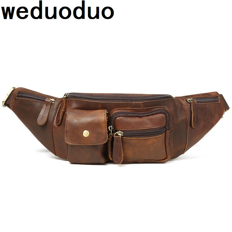 Weduoduo Genuine Leather Waist Packs Fanny Pack Belt Bag Phone Pouch Bags Travel Waist Pack Male Small Waist Bag Leather Pouch цена