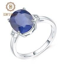 GEMS BALLET Anillo de plata de primera ley y zafiro azul para mujer, sortija, plata esterlina 925, Gema Natural, forma ovalada, quilates, boda