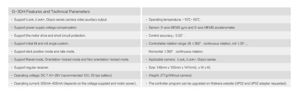Livraison gratuite Walkera G-3DH sans brosse rotatif caméra Support de cardan iLook + Gopro3/3 + Gopro4 caméra 360 degrés contrôle d'inclinaison FPV - 5