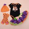 Хэллоуин комплект одежды новорожденных девочек детские юбка трико пачка шапка теплее обувь ползунки установить 4 шт. хэллоуин комплект одежды