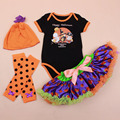 Halloween Clothing Set Newborn Girls Infant Skirt Bodysuits Tutu Hat Warmer Shoes Romper Set 4 Pieces Halloween Clothing Set