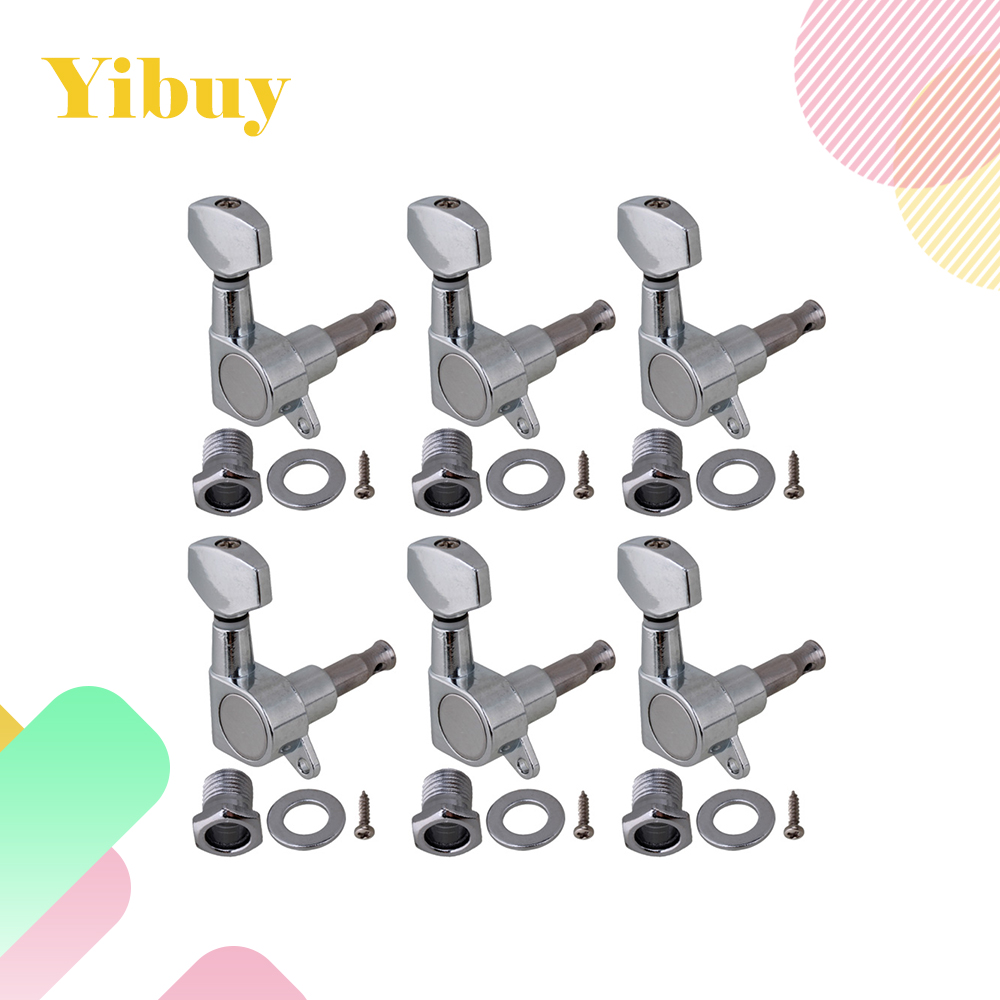 Yibuy Chrome Guitar Tuning pegs machine heads 6R Small button tooyful 6r locking button machine head tuning pegs tuners for electric guitar parts
