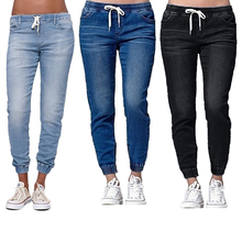 Casual Jogger Pants 2018 Elastic Sexy Skinny Pencil Jeans For Women Leggings Jeans High Waist Women's Denim Drawstring Pants