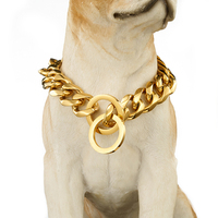 Top quality 19mm 18 30 inch Gold Silver Tone Double Curb Cuban Pet Link Stainless Steel Large Dog Chain Collar Pet Necklaces