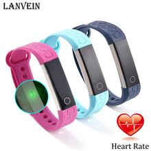Lanvein M1 сердечного ритма Смарт Браслет спортивный смарт-Группа сна Мониторы Шагомер Bluetooth 4.0 Водонепроницаемый браслет для iOS и Android