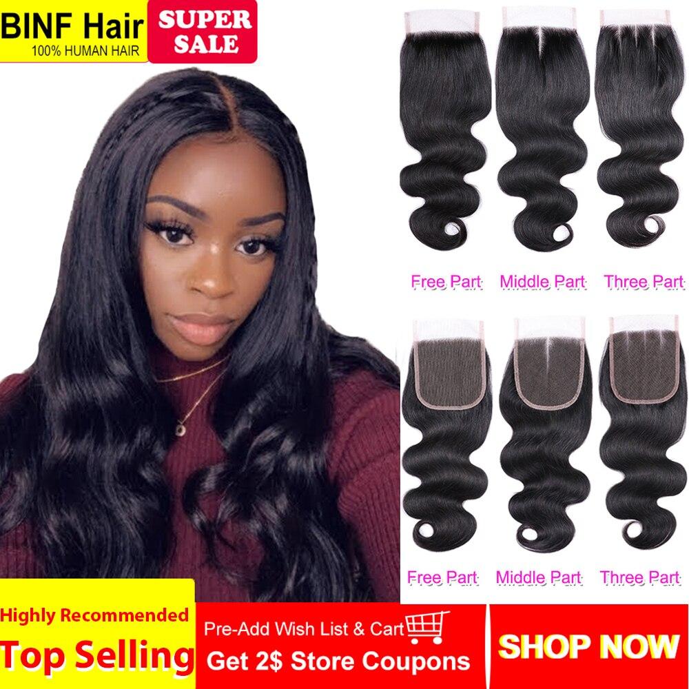 Brazilian Body Wave 3 Bundles With Closure 100 Human Hair Natural Color Hair Weave Bundles For