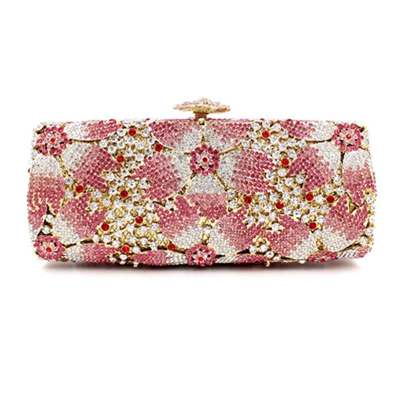 Sacs Pink 100 Cristal De Femmes Fait Luxe Soirée Sac Parti Embrayage Rose Embrayages Strass En À Mariage Xiyuan Main rpqUwxpF0