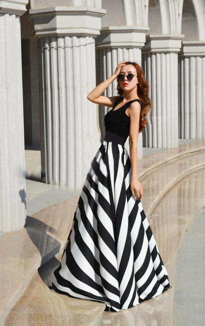 Sexy Women Summer Boho Long Maxi Cocktail Party Beach Skirt Black White Stripes Chiffon Skirt