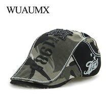 Wuaumx marca Retro camuflaje boina sombreros para hombres y mujeres de  algodón de verano visera Casual b6b4fe22e0d