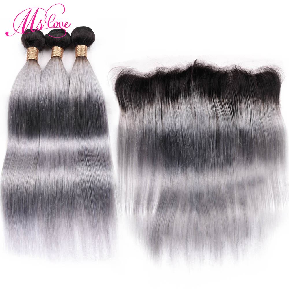 Ms Love Pre-Colored Tb/Dark Root Grey Bundles With Frontal Closure 13*4 Remy Brazilian Humam Hair Straight Bundles With Frontal