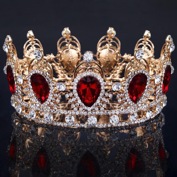 Big European Royal Crown Golden Rhinestone Imitation Tiara Super Large Crown Wedding Hair Accessories Crown crown crown xti6002