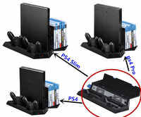Vertical Stand for PS4/ PS4 Slim/ PS4 Pro Console- Cooling Fan with Game CD Storage + Controller Gamepad Charger Station 3 in 1