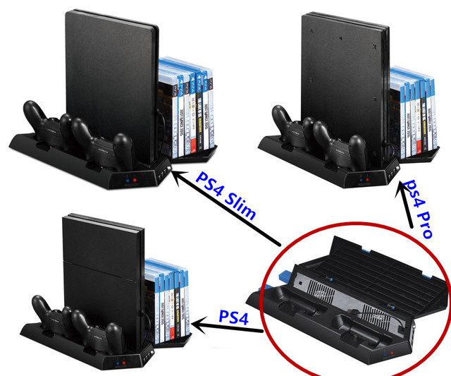 Vertical Stand For PS4/ PS4 Slim/ PS4 Pro Console  Cooling Fan With Game