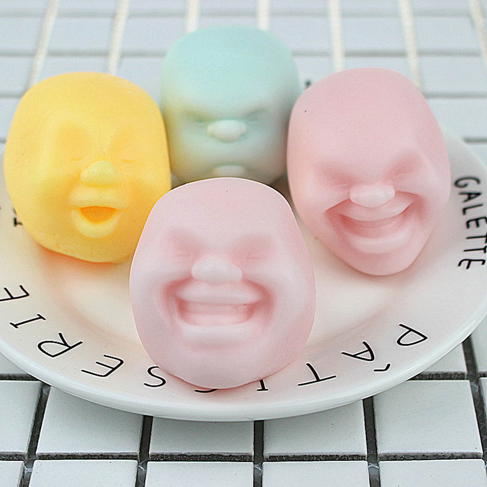 Color random New Funny gadgets anti stress font b toys b font Vent Human Face Ball