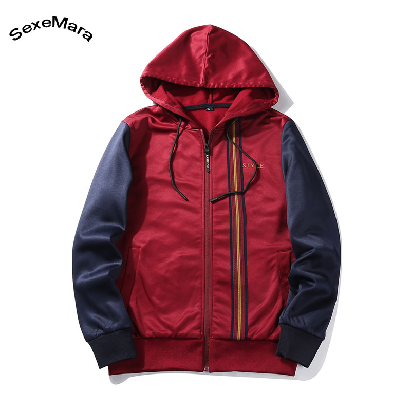 SexeMara Youth Men/Womens Cardigan Hoodie Sweatshirts Fashion Design Zipper 2 Color Patchwork Pullover Hoody Hooded Streetwear