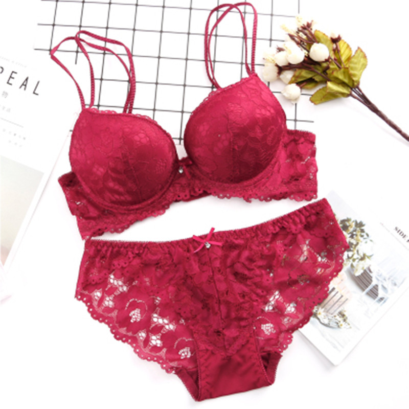 New Lace Embroidery   Bra     Set   Women Plus Size Push Up Underwear   Set     Bra   and Panty   Set   32 34 36 38 AB Cup For Female