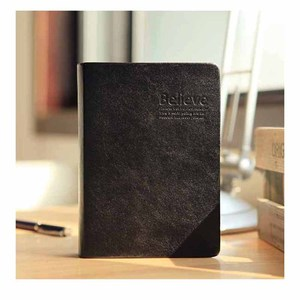 RuiZe Vintage bible book thick paper blank notebook journal diary leather cover gold edge black note book creative stationery