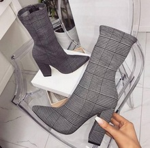 Sexy Gray Plaid Square Heel Womens Ankle Boots Shoes Pointed Toe Chunky Heels Zipper Mid Calf Ladies Winter Shoes Slim Fit elegant soft pink velvet transparent block heels ankle boots slim fit pointed toe chunky heel back zip short women fashionboots