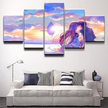 Wall Art Canvas Painting Style Pictures For Living Room 5 Pieces Sword Online Anime Poster Modern Decoration Paintings