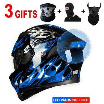 Casco de motocicleta con micrófono y Bluetooth, capacete para hombre