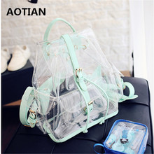 AOTIAN 2017 summer new PVC backpacks transparent shoulder bag Korean version of the lovely backpack for women girls