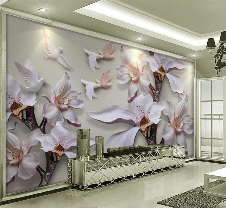 3d Sandstein Relief 3d Tapeten Weiß Magnolia Harz Prägung Wandmalereien Hintergrund Wohnzimmer 3d Wandbild Tapete Elegant Und Anmutig