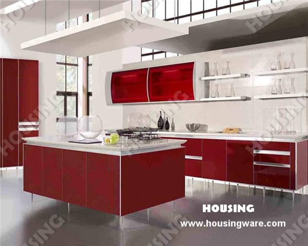High Gloss Red Lacquer Finish Kitchen Cabinets Kitchen Furniture  Manufacturer