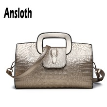 Ansloth Alligator Pattern Handbag For Women PU Leather Handle Bag Ladies Large Capacity Shoulder Female Evening HPS609